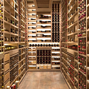 West Los Angeles Custom Wine Cellar Metal Bronze Racking and Custom Shelving