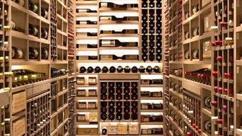 West Los Angeles Custom Wine Cellar Metal Bronze Racking and Custom Shelving