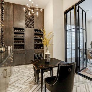 Bild på en mycket stor vintage vinkällare, med klinkergolv i keramik, vinställ med diagonal vinförvaring och grått golv