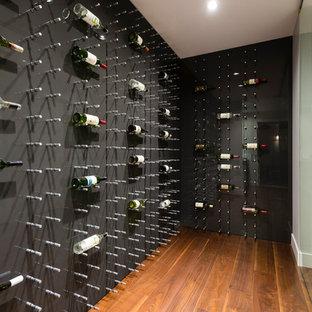 Idéer för att renovera en mellanstor funkis vinkällare, med plywoodgolv och vinhyllor