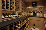 white-washed oak traditional wine cellar