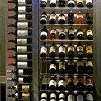 Private Wine Bar And Bathroom Contemporary Wine Cellar