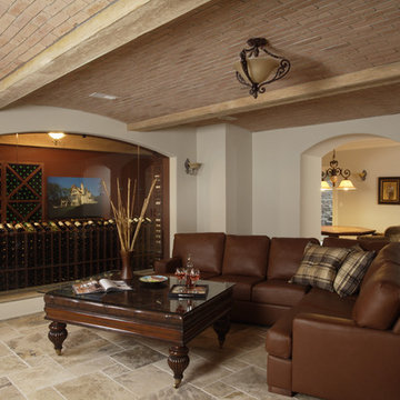 Wine Cellar and Tasting Room with Barrel Vaulted Brick and Beamed Ceiling