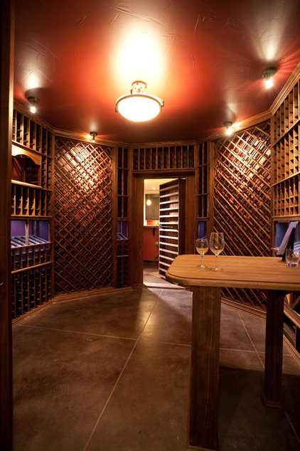 Contemporary Wine Cellar by Aneka Interiors Inc.