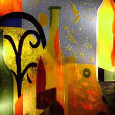 Contemporary Wine Cellar by Designer Glass Mosaics