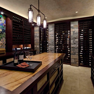Arts and crafts wine cellar photo in Seattle with display racks
