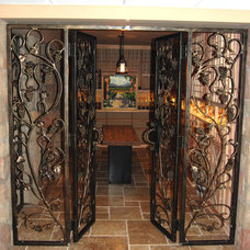 Transitional Wine Cellar by Manhattan Iron Doors