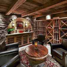 Traditional Wine Cellar by PSG Construction