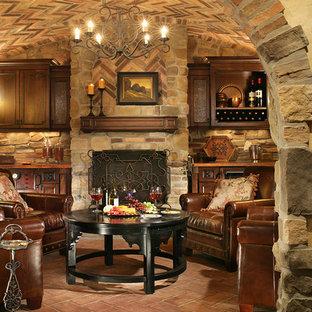 Cette image montre une cave à vin traditionnelle.