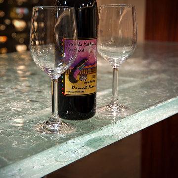 Wine Cellar Storage Room & Glass Bar Countertop