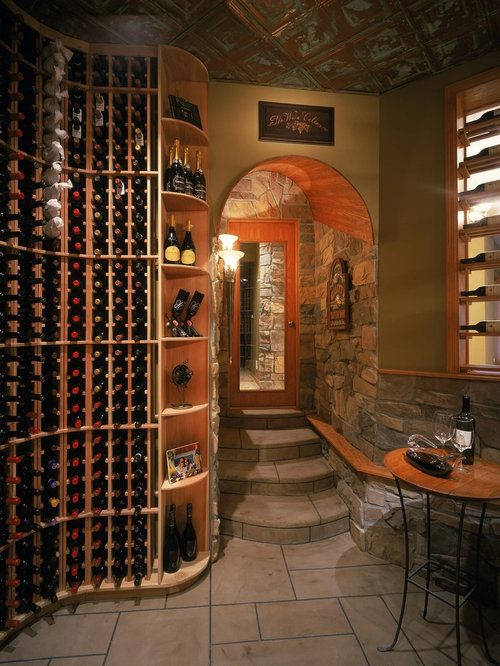 Rustic tin ceiling design ideas remodel pictures houzz for Cost to build wine cellar