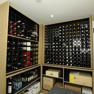 Diseño de bodega contemporánea, pequeña, con suelo vinílico y botelleros