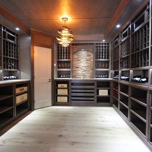 Ejemplo de bodega contemporánea, de tamaño medio, con suelo de madera clara, botelleros y suelo gris