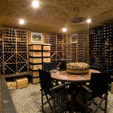 Transitional Wine Cellar by Interior Spaces