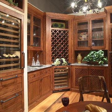 Wine grotto with beaded glass door storage