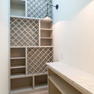 Ejemplo de bodega moderna, pequeña, con suelo de baldosas de porcelana, botelleros de rombos y suelo marrón