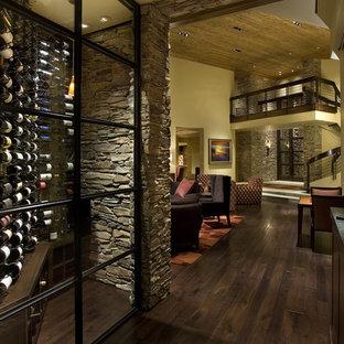 Ejemplo de bodega contemporánea, pequeña, con suelo de madera oscura, vitrinas expositoras y suelo marrón