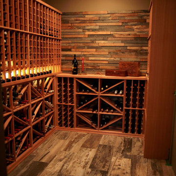 Wooden Wine Racks Wine Cellar with Wood Floor and Feature Wall