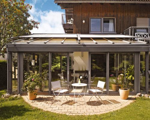 wintergarten in grau rustikal eingerichtet. Black Bedroom Furniture Sets. Home Design Ideas