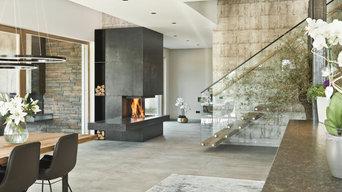 3-seitiger Designkamin für offenes Architektenhaus