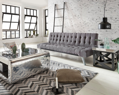 industrial wohnzimmer mit hellem holzboden ideen design bilder houzz. Black Bedroom Furniture Sets. Home Design Ideas