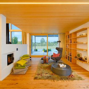 他の地域の大きい北欧スタイルのおしゃれなファミリールーム (白い壁、淡色無垢フローリング、横長型暖炉、ライブラリー、テレビなし) の写真