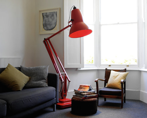 Anglepoise lamp houzz small urban enclosed carpeted living room library photo in munich with white walls aloadofball Image collections