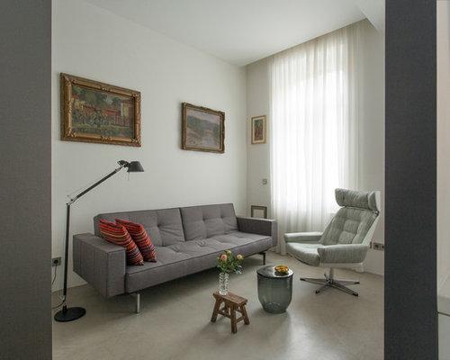 Beispiel Fr Fernseherlose Offene Kleine Moderne Wohnzimmer Ohne Kamin Mit Grauer Wandfarbe Und Betonboden