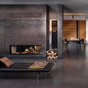 Foto di un soggiorno contemporaneo di medie dimensioni con pareti bianche, pavimento in cemento, camino bifacciale e cornice del camino in metallo
