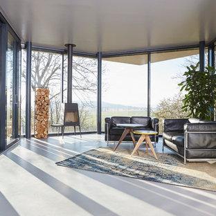 Moderne Wohnzimmer mit Kaminofen Ideen, Design & Bilder   Houzz