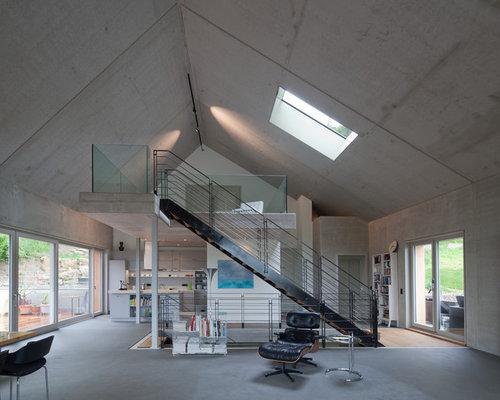 ... für Wohnzimmer im Loft-Style mit Betonboden - Ideen & Design HOUZZ