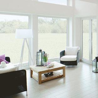 Ispirazione per un soggiorno nordico aperto con pareti bianche e pavimento con piastrelle in ceramica