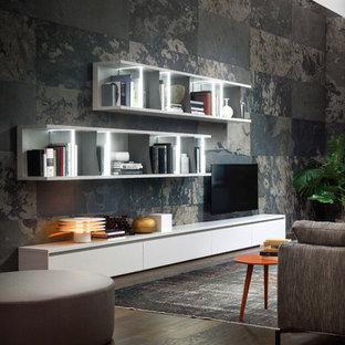 Esempio di un grande soggiorno minimalista aperto con pareti bianche, pavimento in cemento, nessun camino, nessuna TV, pavimento grigio, libreria e cornice del camino in cemento