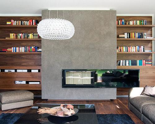 Wohnideen für wohnzimmer mit kaminsims aus beton   ideen & design ...