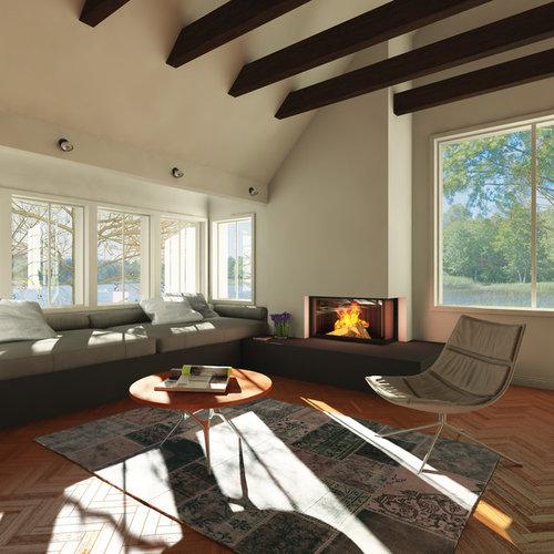 Große Wohnzimmer mit Eckkamin - Ideen, Design, Bilder & Beispiele