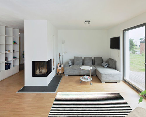 skandinavische wohnzimmer mit wand tv ideen design bilder houzz. Black Bedroom Furniture Sets. Home Design Ideas