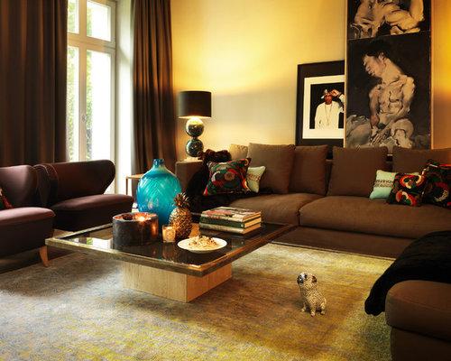 Repräsentative Wohnzimmer mit gelben Wänden Ideen fürs Einrichten ...
