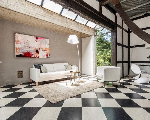 Mittelgroßes, Repräsentatives, Fernseherloses, Offenes Modernes Wohnzimmer  Ohne Kamin Mit Weißer Wandfarbe
