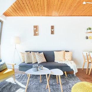 Salon avec un mur blanc Essen : Photos et idées déco de salons