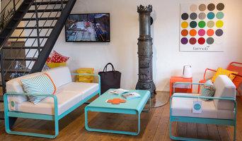 """Fermob Garten - Kollektion """"Bellevie"""", niedrige Sitzmöbel in der Farbe lagune"""