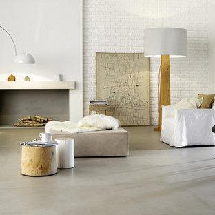 Ispirazione per un grande soggiorno scandinavo stile loft con pareti bianche, pavimento con piastrelle in ceramica, stufa a legna, cornice del camino in intonaco e pavimento grigio