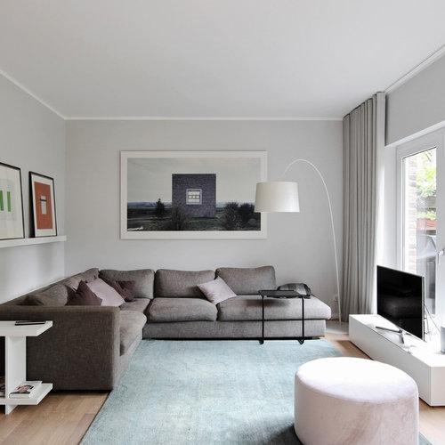 Soggiorno con pareti grigie Düsseldorf - Foto e Idee per ...