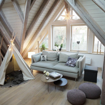 Small danish enclosed light wood floor and brown floor family room photo in Other with white walls, no fireplace and no tv