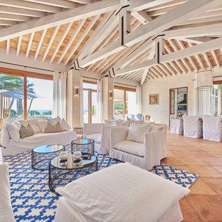 Ejemplo de salón abierto, marinero, con suelo de baldosas de terracota, paredes blancas, chimenea de esquina, marco de chimenea de metal y suelo marrón
