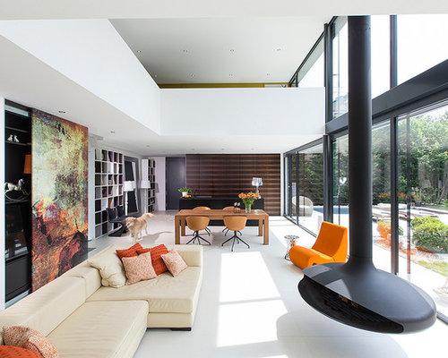 offene wohnzimmer mit hängekamin - ideen, design, bilder & beispiele, Wohnzimmer