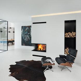 Esempio di un grande soggiorno moderno aperto con sala formale, pareti bianche e nessuna TV