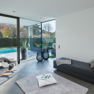 Diseño de sala de estar abierta, actual, de tamaño medio, sin televisor, con paredes blancas, suelo de linóleo y suelo gris
