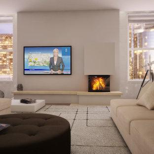 Diseño de sala de estar abierta, actual, grande, sin televisor, con paredes blancas, suelo de madera clara, estufa de leña, marco de chimenea de hormigón y suelo beige