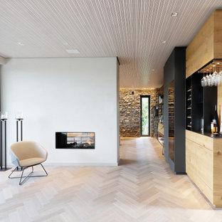 他の地域の広いインダストリアルスタイルのおしゃれなリビング (白い壁、淡色無垢フローリング、両方向型暖炉、金属の暖炉まわり、内蔵型テレビ、ベージュの床) の写真