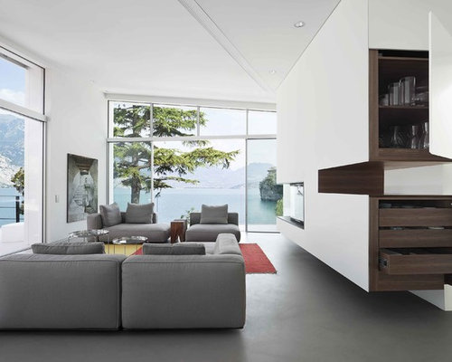 Moderne Wohnzimmer Mit Kamin Stock Fotografie Bildagentur F1online ...